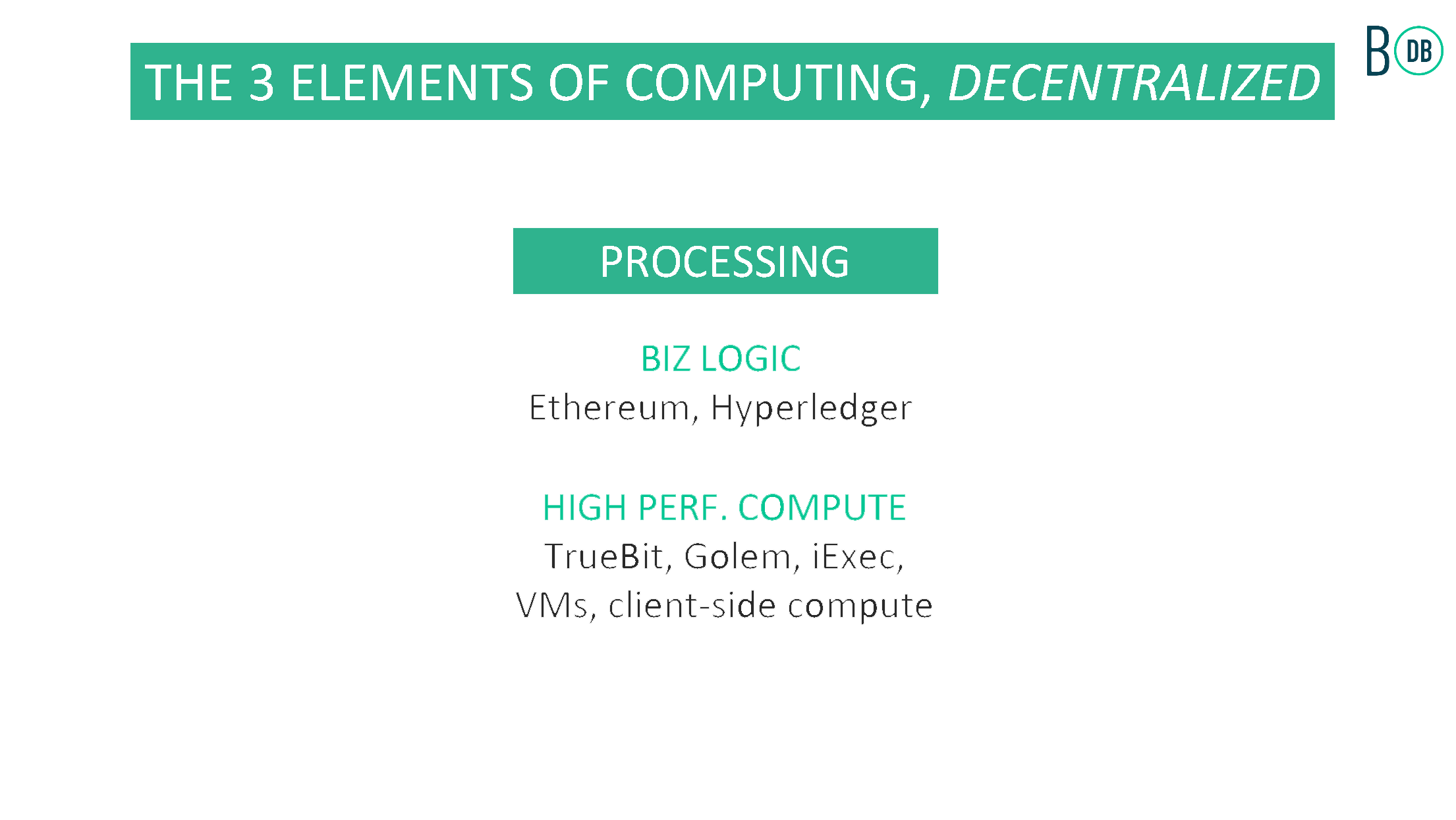 Decentralized processing