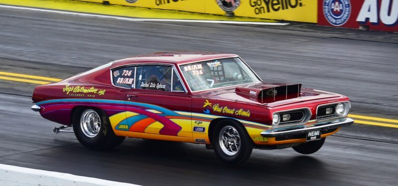 Drag racing muscle car