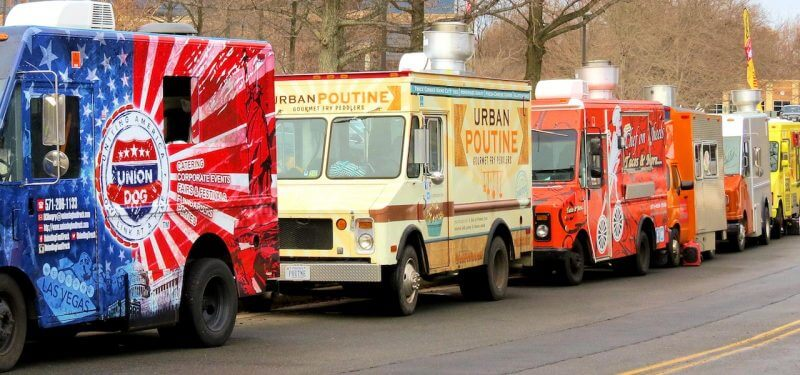 Line of food trucks