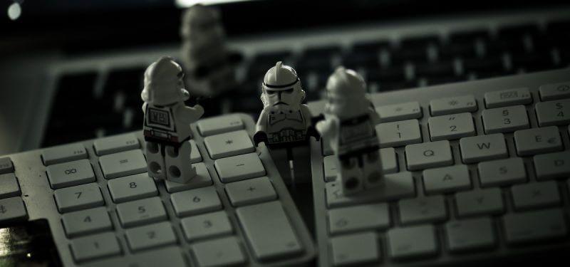Clone trooper legos frantic on a keyboard