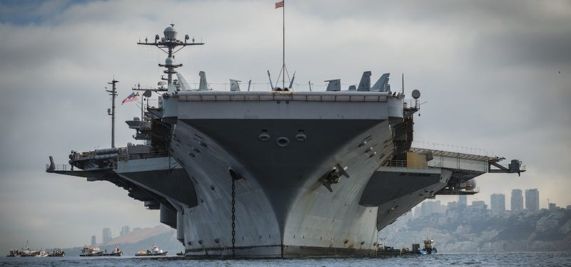 Aircraft carrier from the water in front