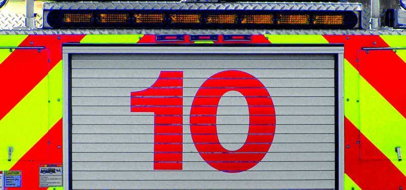 The number 10 on the back of a firetruck