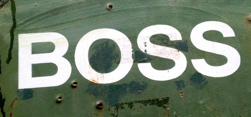Boss logo on metal