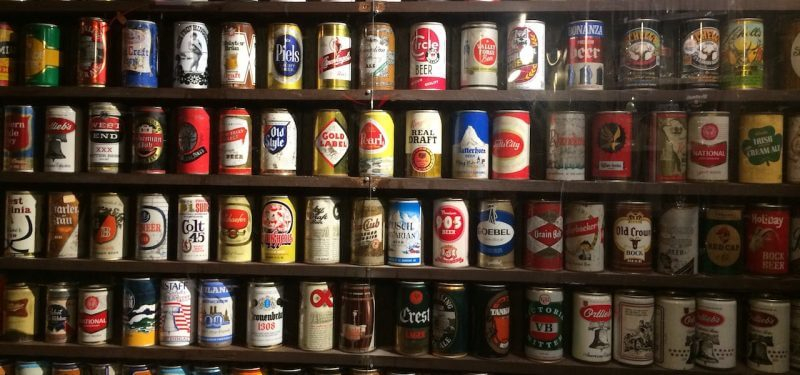 Rows of different beer cans