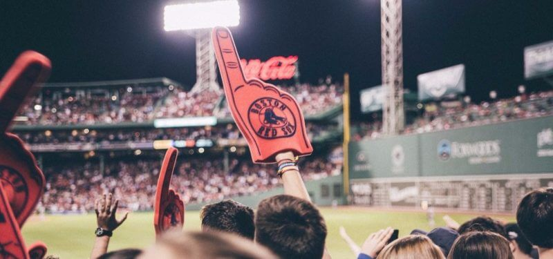 Big foam finger at Red Sox game