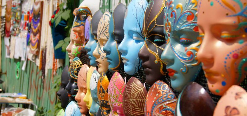 Row of masks