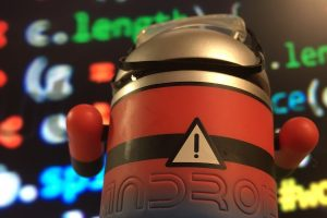 Android figure with code in the background
