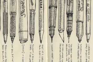 Sketch book of pens