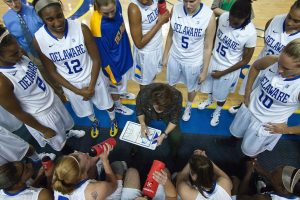 Basketball coach huddle