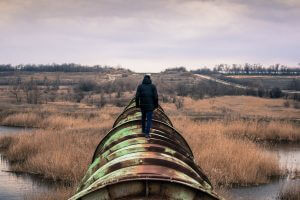 Person walking on a pipeline