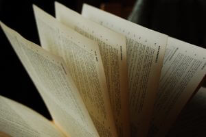 Fanned-out book pages
