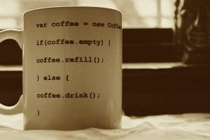 Coffee mug with code on it