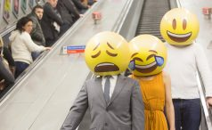 People with emoji masks