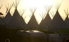Tipis at sunset